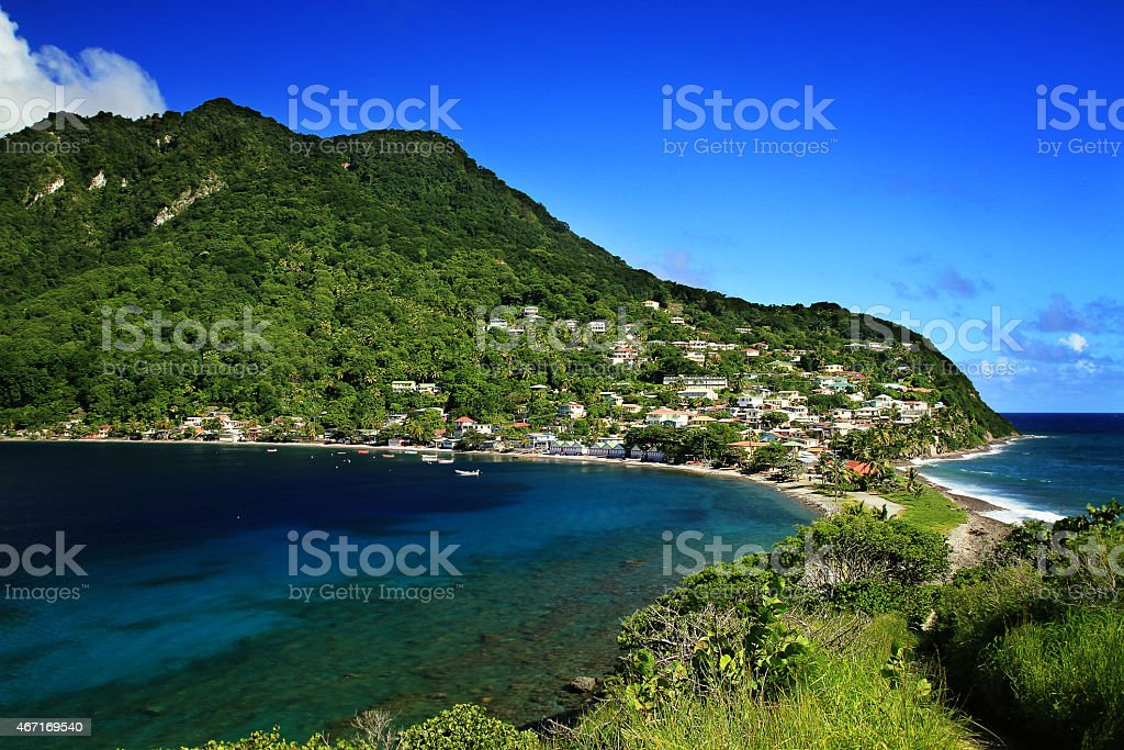 Scotts Head village in Dominica stock photo