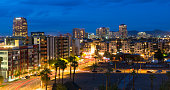 The skyline of Scottsdale, Arizona, in evening light