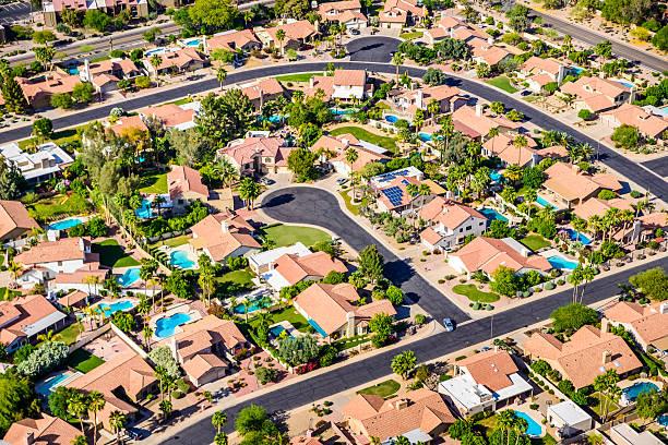Scottsdale Phoenix Arizona suburban housing development neighborhood - aerial view stock photo