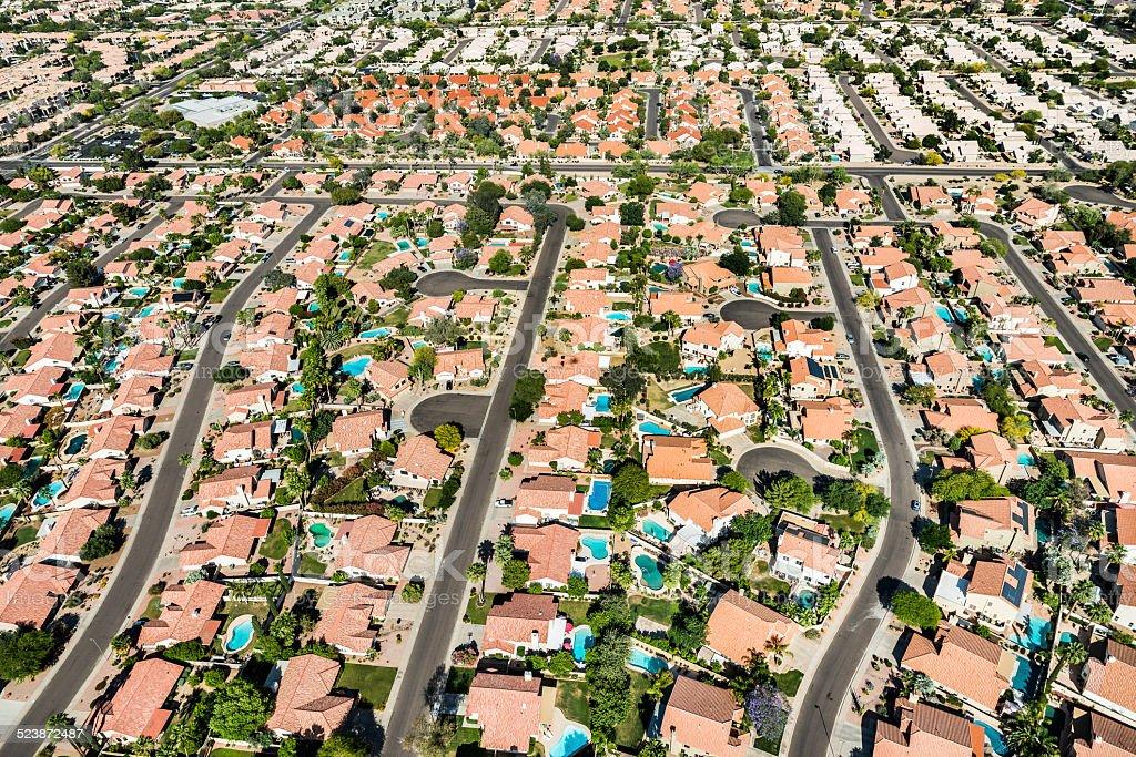Scottsdale Phoenix Arizona suburban housing development neighborhood - aerial view royalty-free stock photo