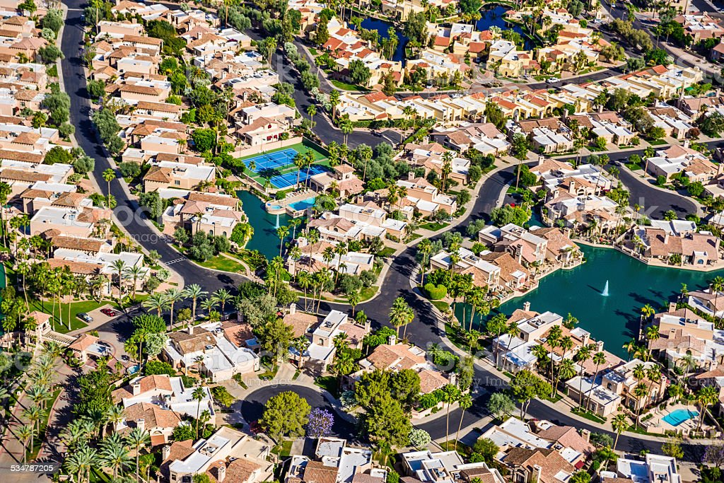 Scottsdale Phoenix Arizona suburban housing development neighborhood - aerial view stock photo