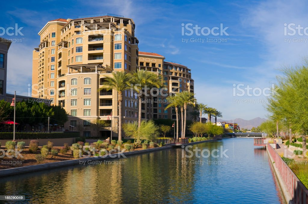 Scottsdale towers and canal stock photo