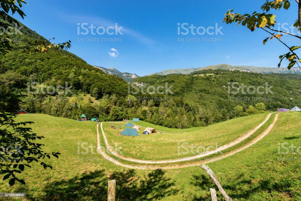 Scout Camp With Tents On The Italian Alps Stock Photo