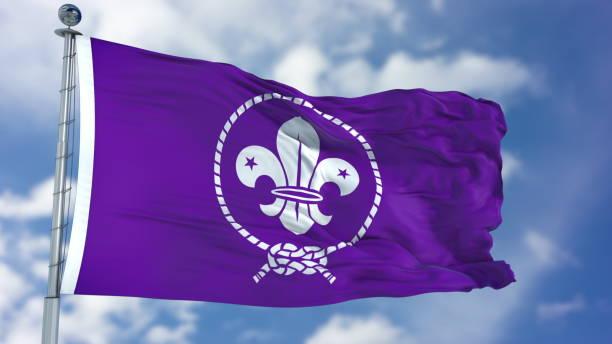 scout púrpura ondeando bandera - boy scout fotografías e imágenes de stock