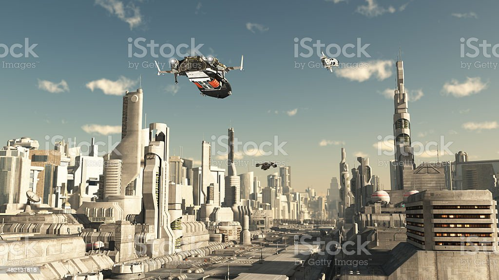 Scout Ship Landing in a Future City stock photo