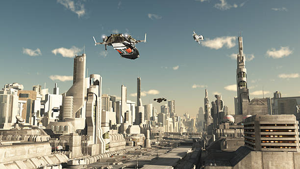 スカウト・船の登場で、将来の街 ストックフォト