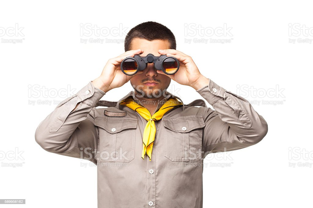 Scout with binoculars - foto de stock