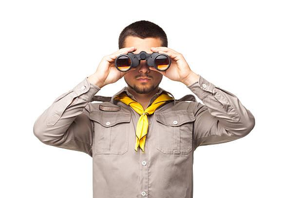 scout with binoculars - boy scout fotografías e imágenes de stock