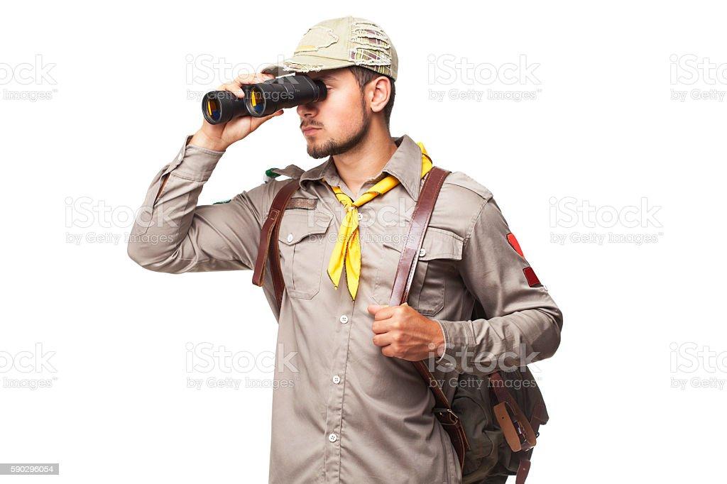 Scout with binoculars royaltyfri bildbanksbilder