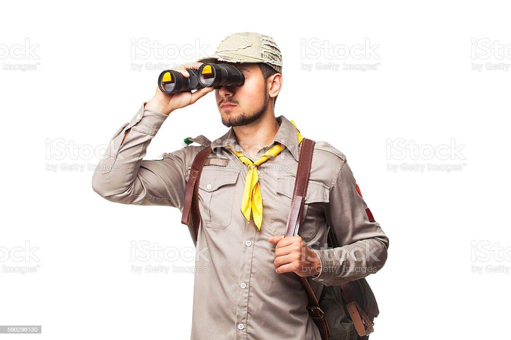 Scout with binoculars Стоковые фото Стоковая фотография