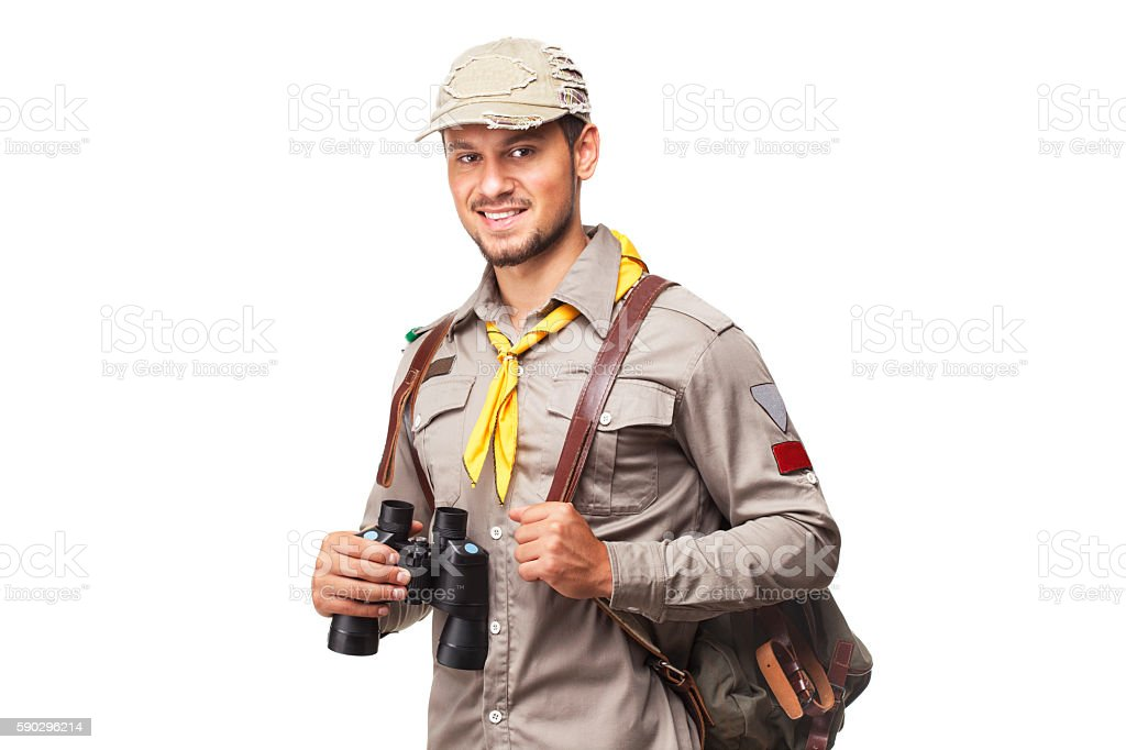Scout with binoculars stock photo