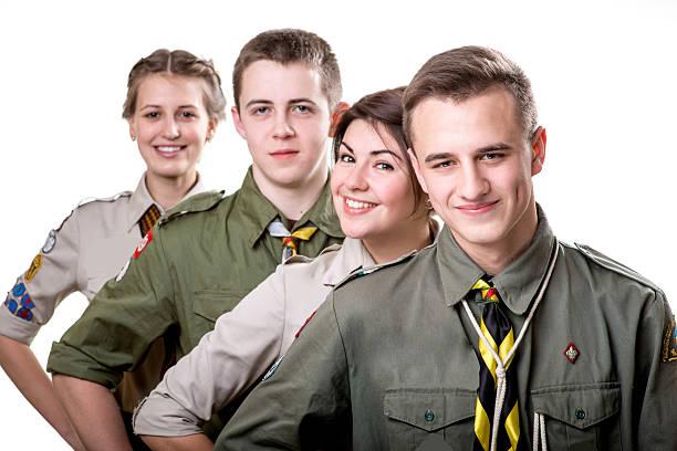 scouts en estudio - boy scout fotografías e imágenes de stock