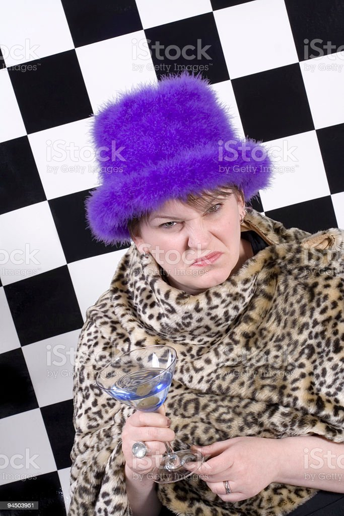 Scowling Martini Lover stock photo