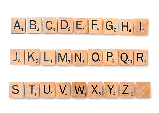 scrabble complete alphabet - note message stock photos and pictures
