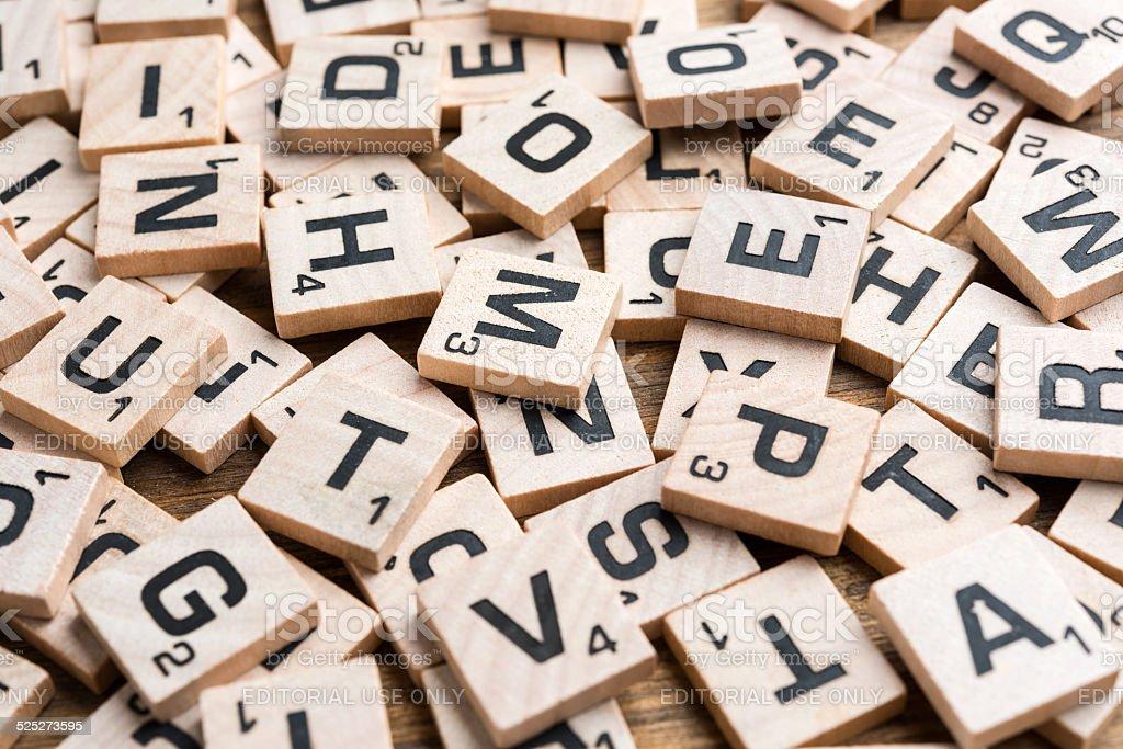 scrabble letter tiles stock photo