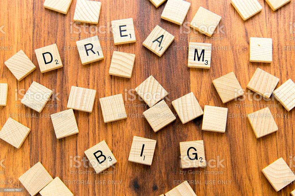Scrabble letters - DREAM BIG stock photo