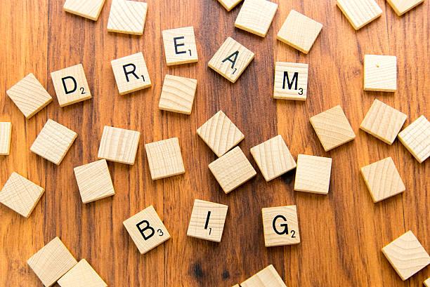 Scrabble letters - DREAM BIG stock photo