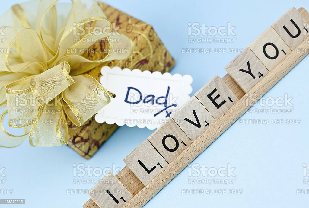 Scrabble Message to Dad stock photo