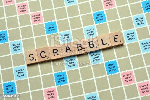 Vancouver, Canada -- September 13, 2011:Close up of Scrabble spelled out on a Scrabble game board.  Scrabble is a word board game that is available in over 120 countries worldwide.
