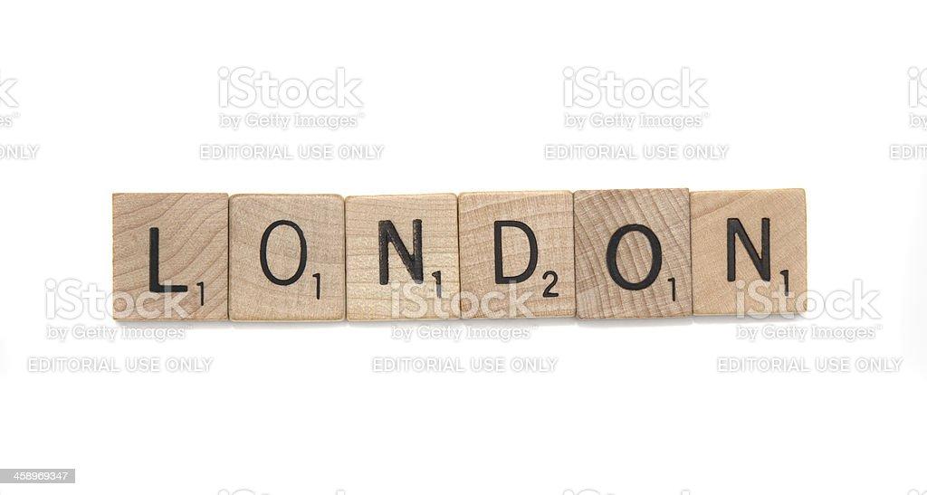 scrabble tiles spelling london stock photo