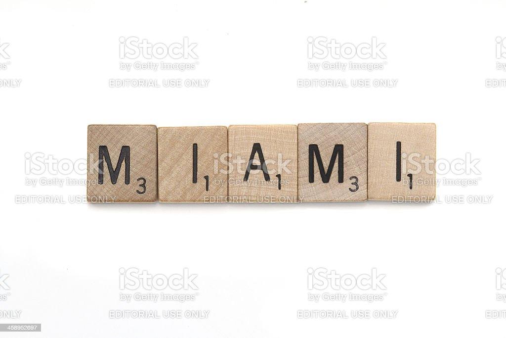 Scrabble tiles spelling Miami. royalty-free stock photo