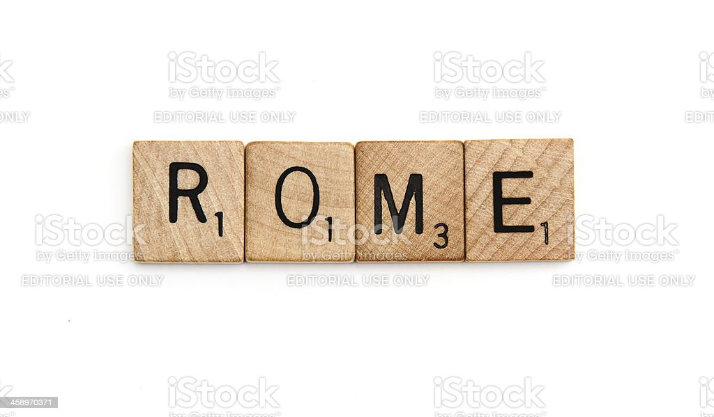 Scrabble tiles spelling Rome royalty-free stock photo