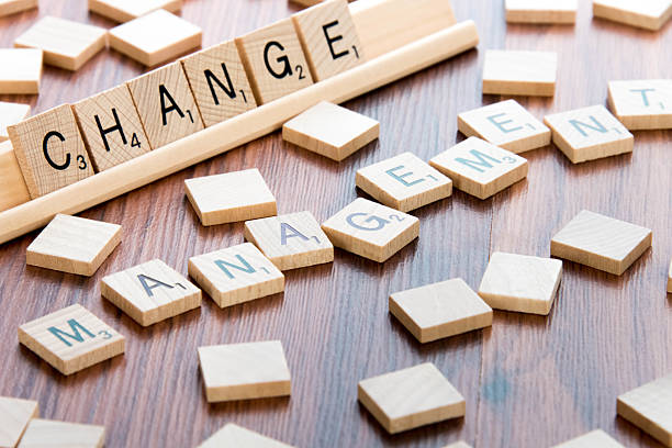 Scrabble Word Game wood tiles spelling CHANGE MANAGEMENT stock photo