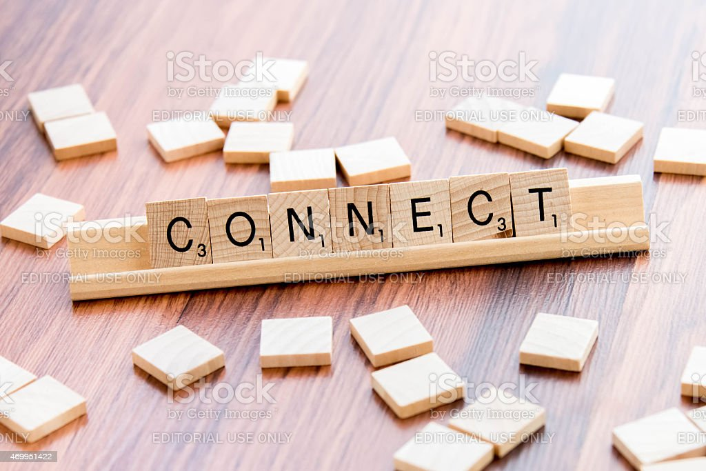 Scrabble Word Game wood tiles spelling CONNECT stock photo