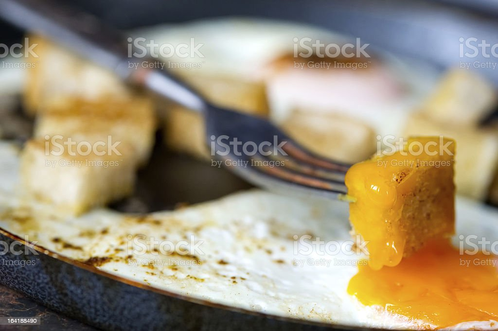 Scramble eggs with small toasted bread royalty-free stock photo
