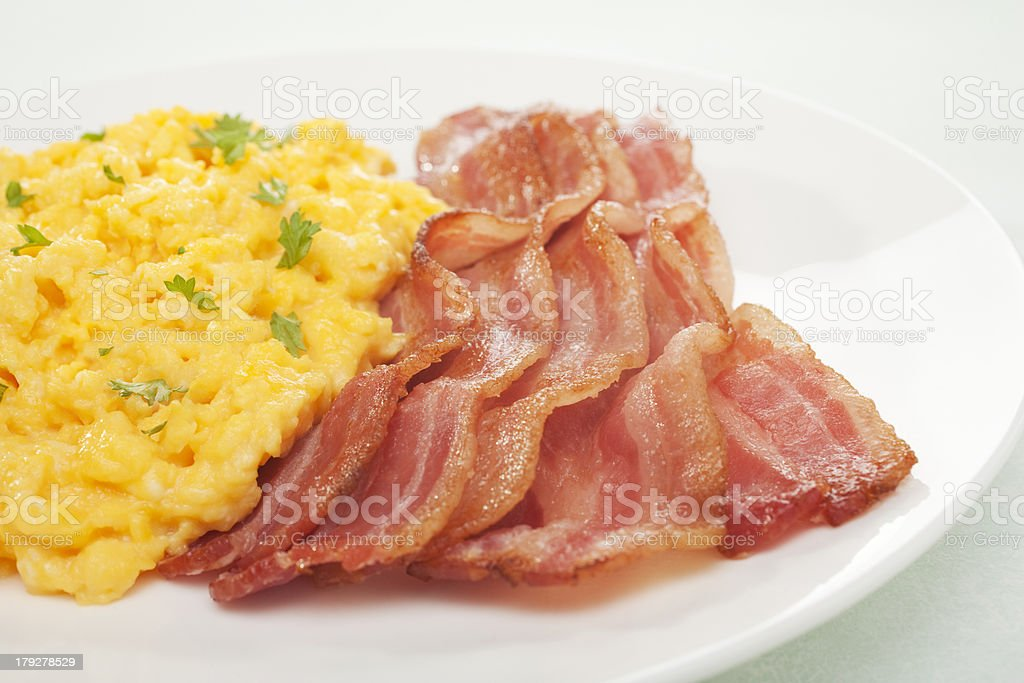 Scrambled Egg and Grilled Bacon English Breakfast royalty-free stock photo