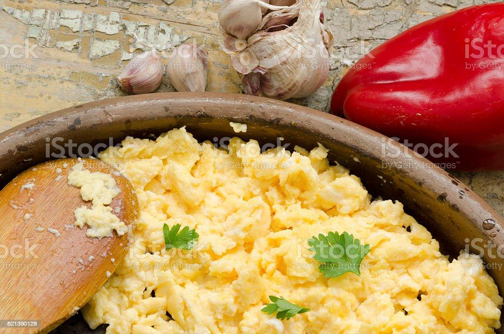 Scrambled eggs and garlic stock photo