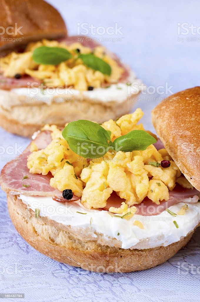 Scrambled eggs and ham royalty-free stock photo