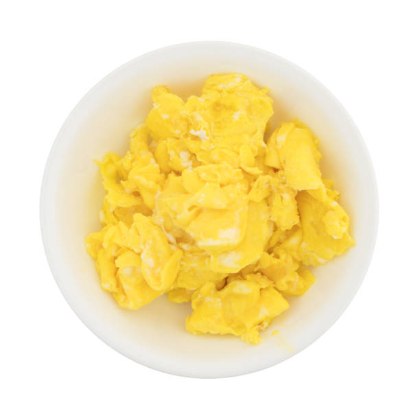 Scrambled Eggs In A Small Bowl Stock Photo