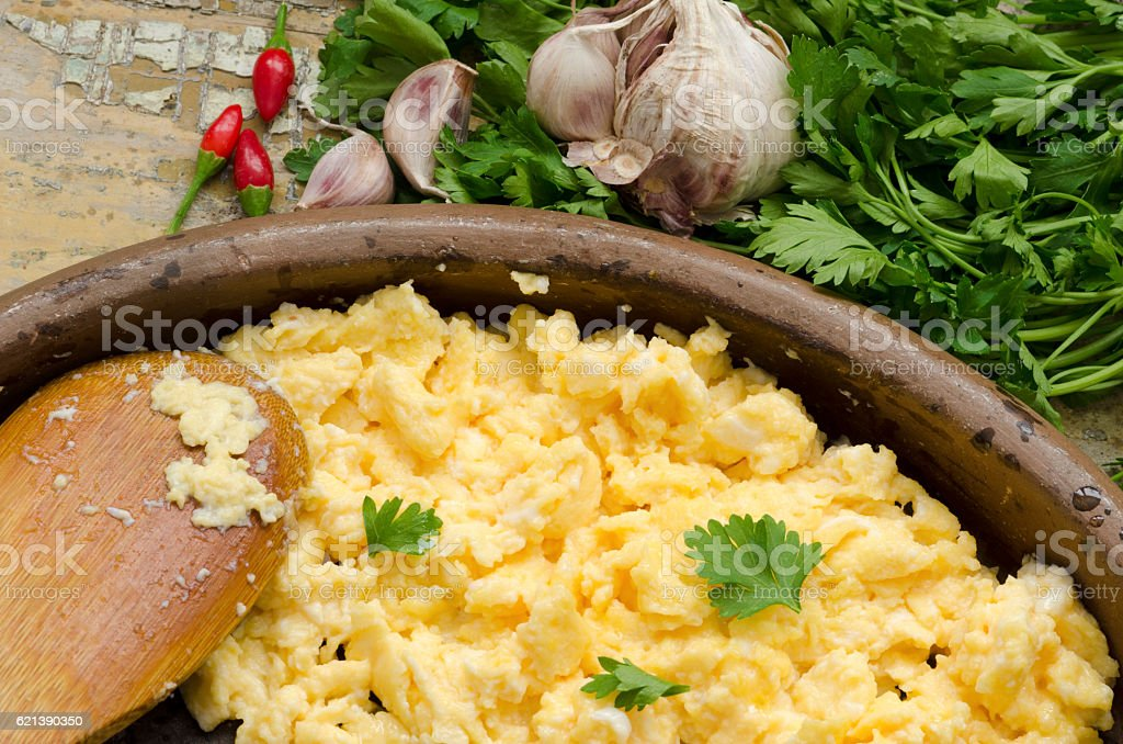 Scrambled eggs with parsley stock photo