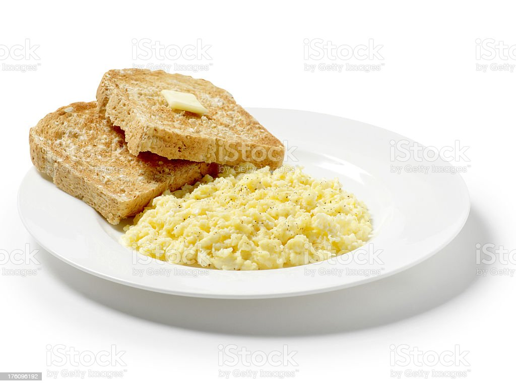 Scrambled Eggs with Toast royalty-free stock photo