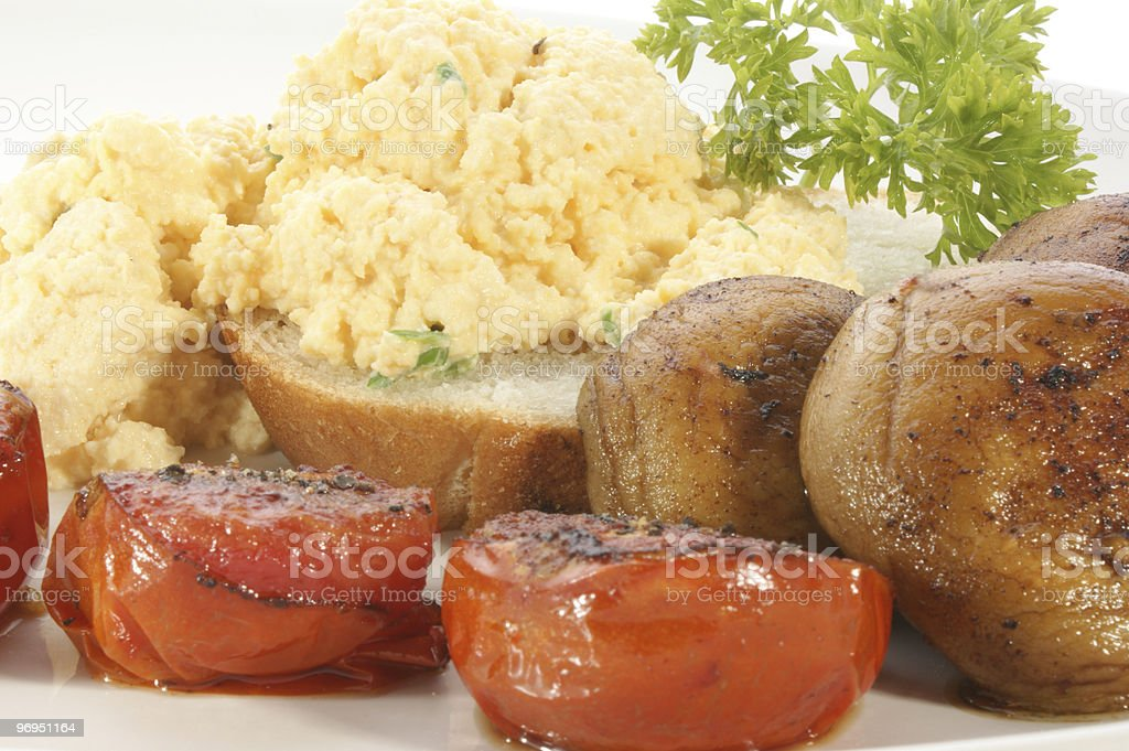 scrambled eggs with tomato and mushroom royalty-free stock photo