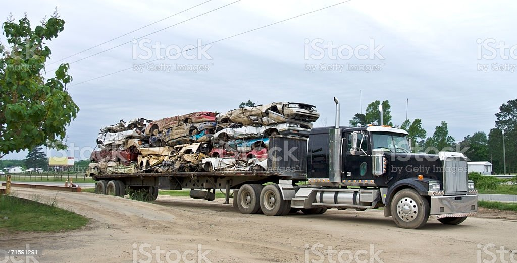 Scrap Autos on Flatbed stock photo