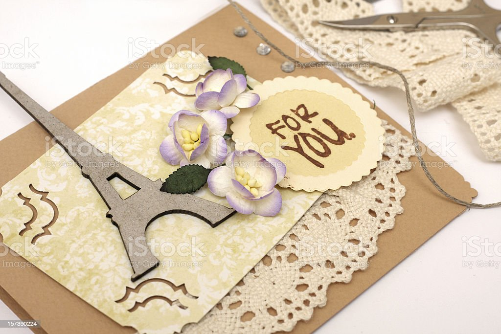 Scrap booking of Eiffel tower and For You text with flowers stock photo