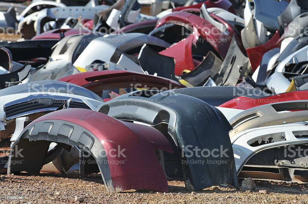 Scrap Bumpers Waiting for New Owners royalty-free stock photo