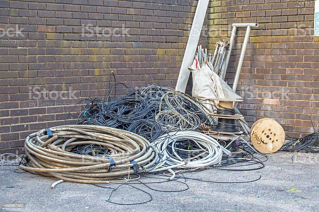Scrap cable stock photo