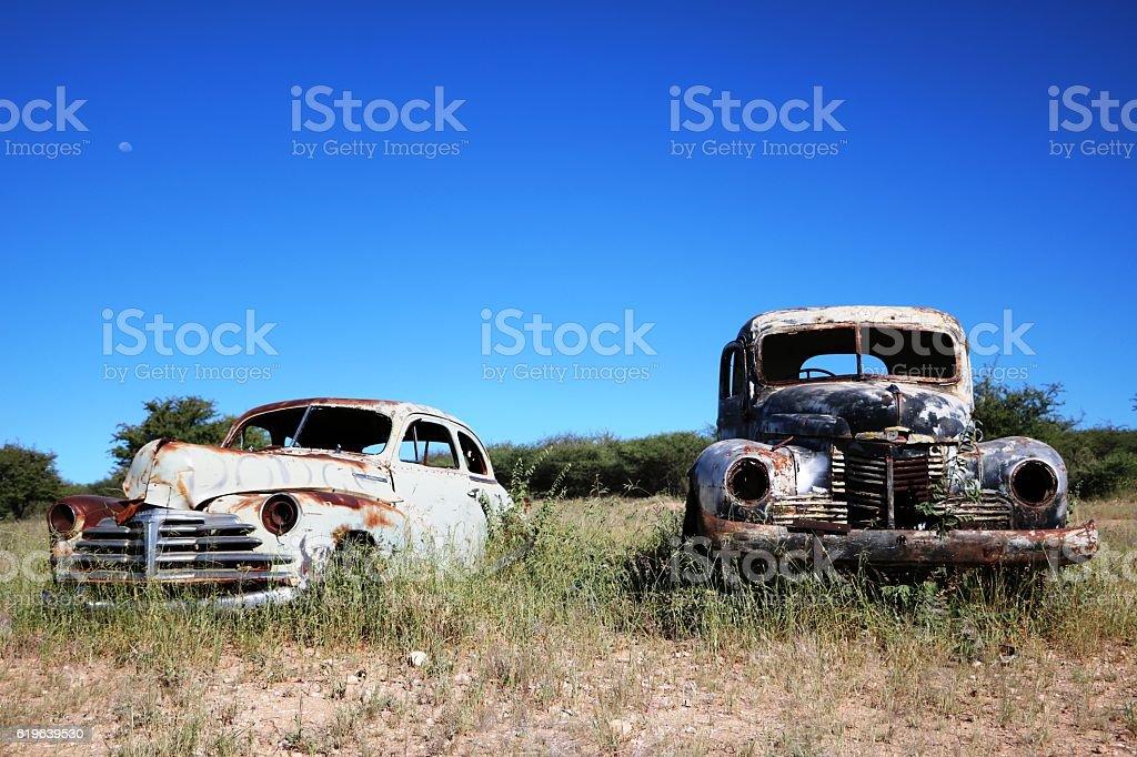 Scrap car in the desert Namibia, Africa stock photo