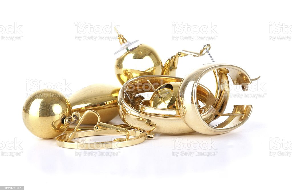 Scrap Gold Earrings stock photo
