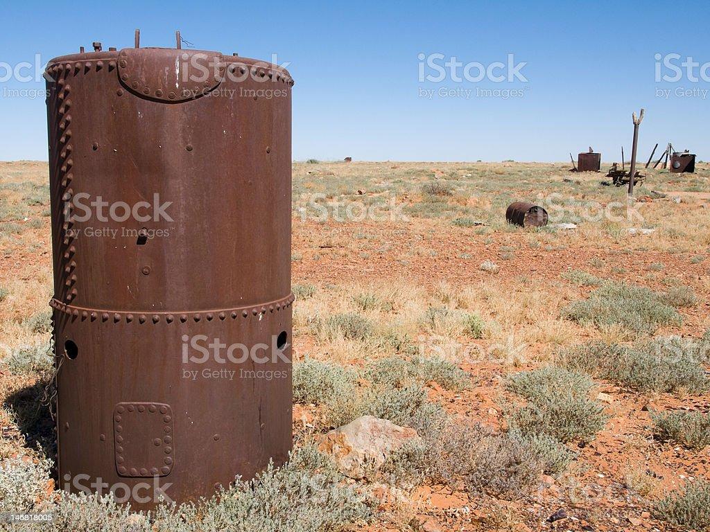 Scrap metal by the Oodnadatta Track, Australia stock photo