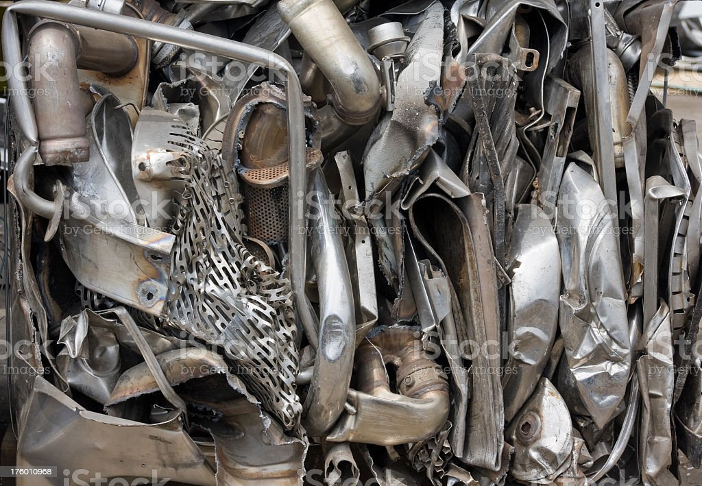 scrap metal compressed into a block royalty-free stock photo