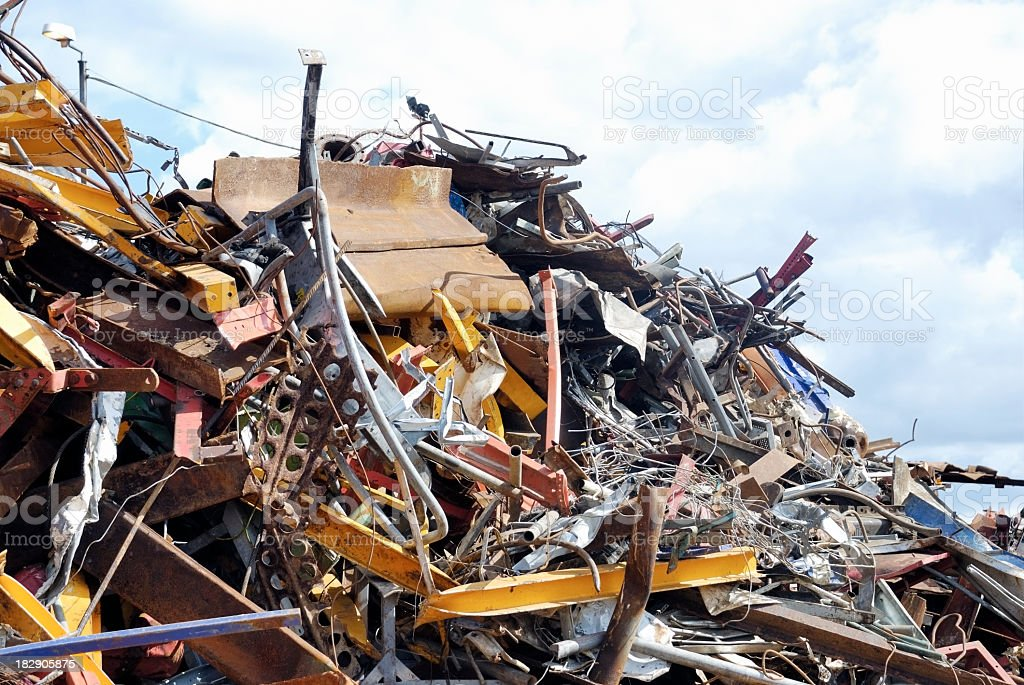 Scrap metal on a recycling center royalty-free stock photo