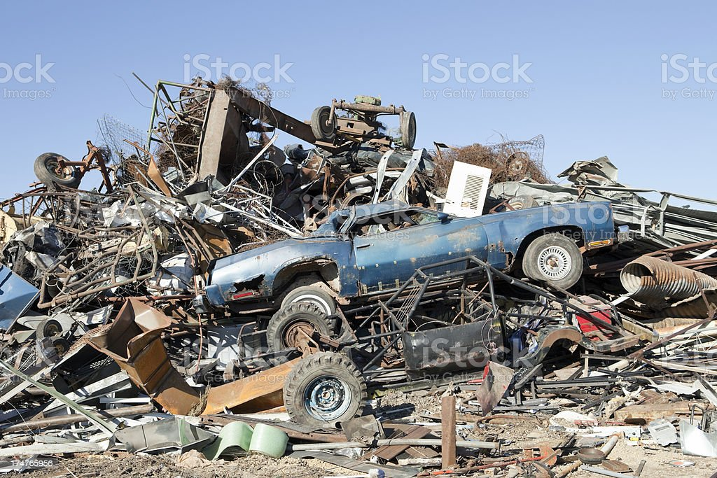Scrap Metal Pile Against Blue Sky With Junked Car Stock Photo & More ...
