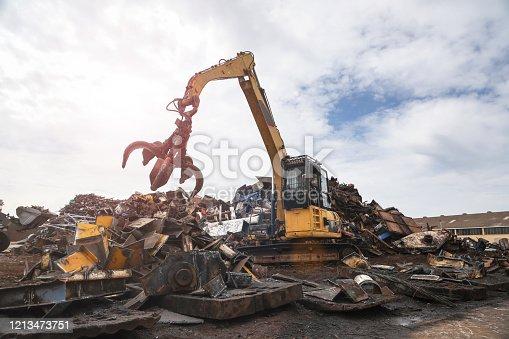 istock Scrap metal recycling facility. 1213473751
