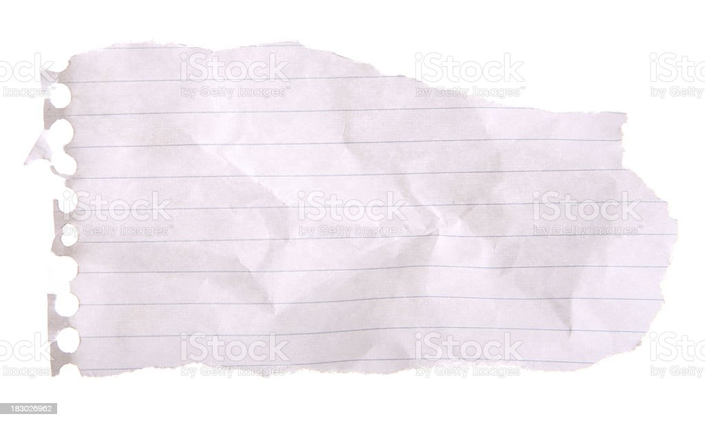 Scrap Notebook Paper royalty-free stock photo
