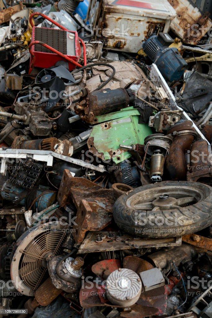 Scrap rusty metal heap
