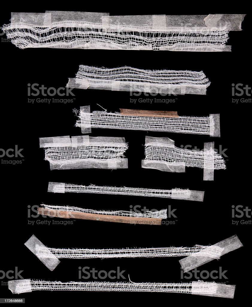Scrap Tapped Gauze Pieces royalty-free stock photo